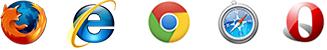 Firefox, Internet Explorer, Chrome, Safari, Opera