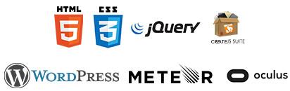 html5, css3, JQuery, CreateJS, WordPress, Meteor.js, Oculus Rift